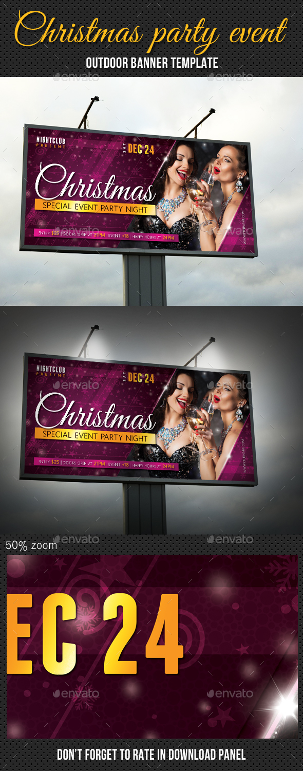 Christmas Party Outdoor Banner 01 - Signage Print Templates