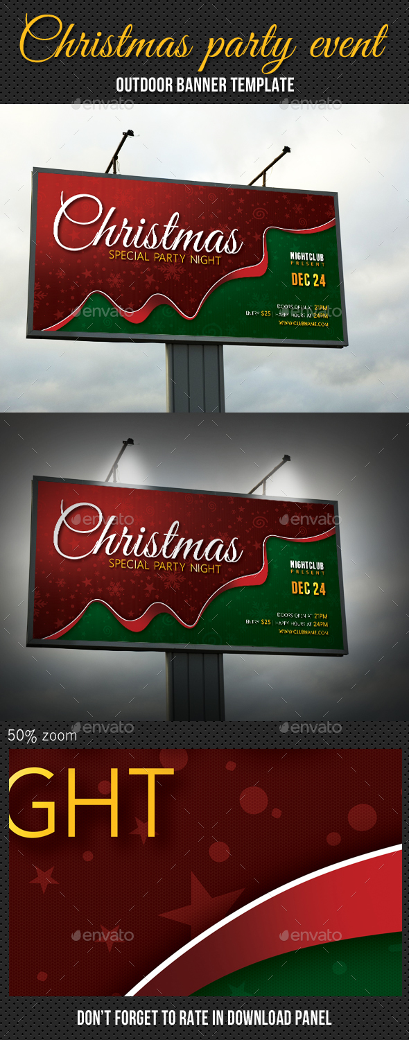 Christmas Party Outdoor Banner 02 - Signage Print Templates