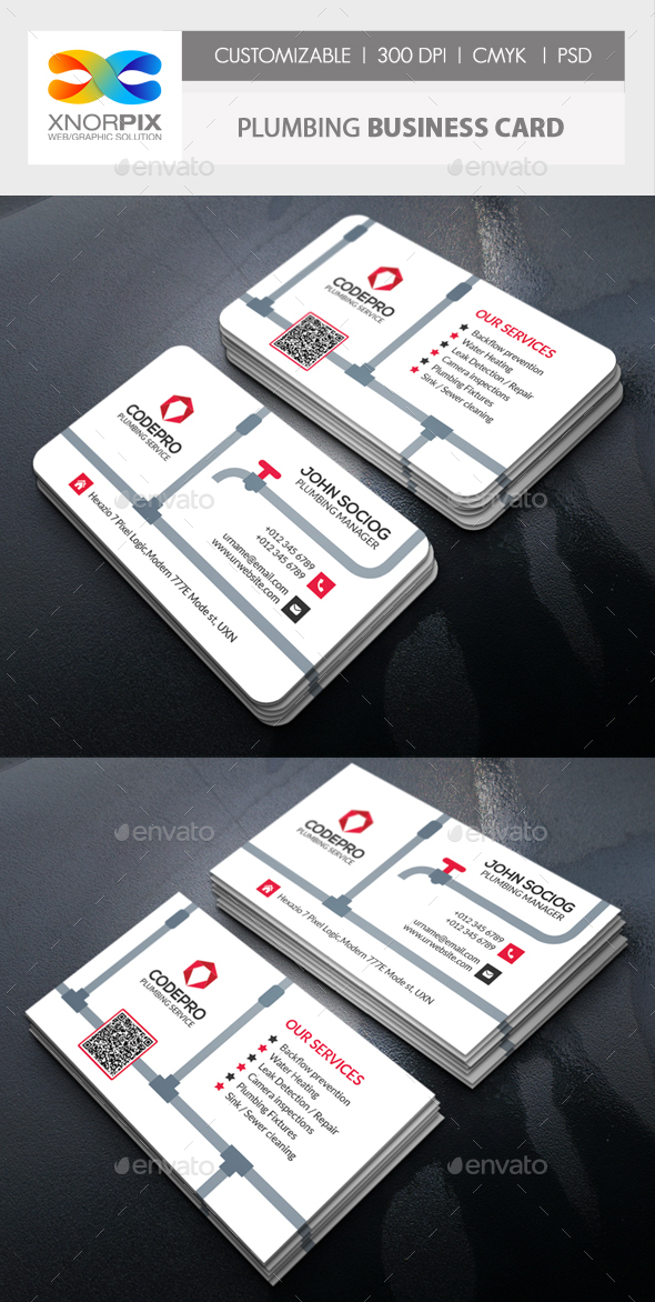 Plumbing Business Card by -axnorpix   GraphicRiver