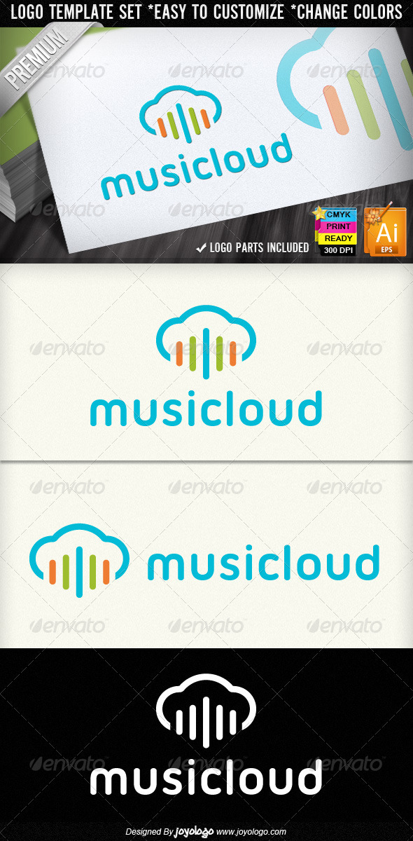 Colorful Sound Wave Music Cloud Logo Designs - Symbols Logo Templates