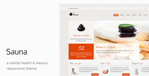 Sauna - Health, beauty & Spa  Responsive Joomla Template - Health & Beauty Retail