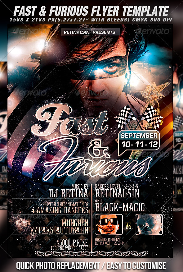 Fast & Furious Flyer Template - Clubs & Parties Events