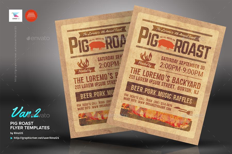 pig roast flyer templates by kinzi21