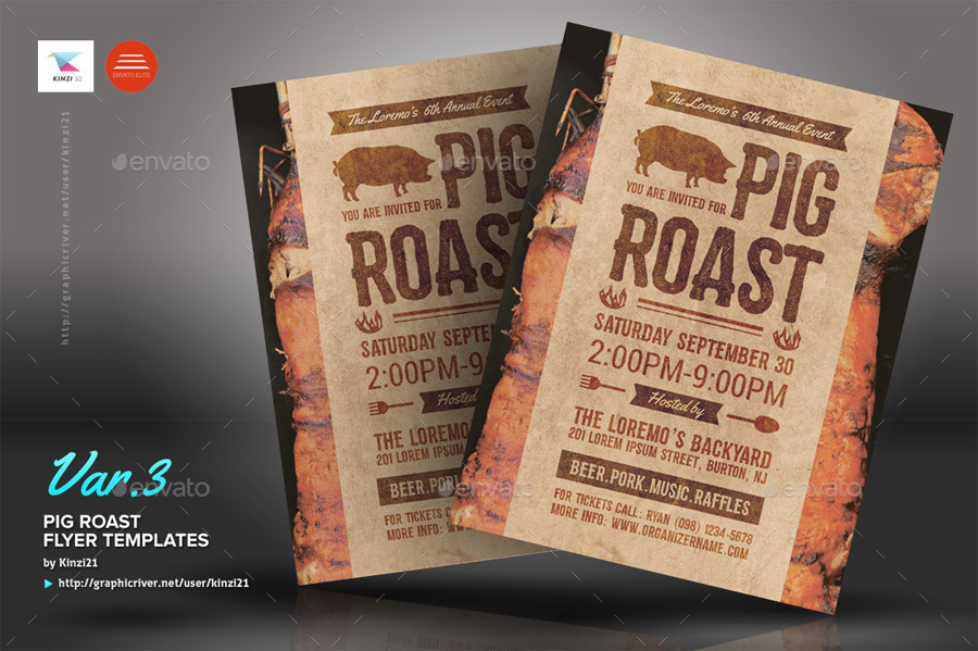 Pig Roast Flyer Templates By Kinzi21 Graphicriver
