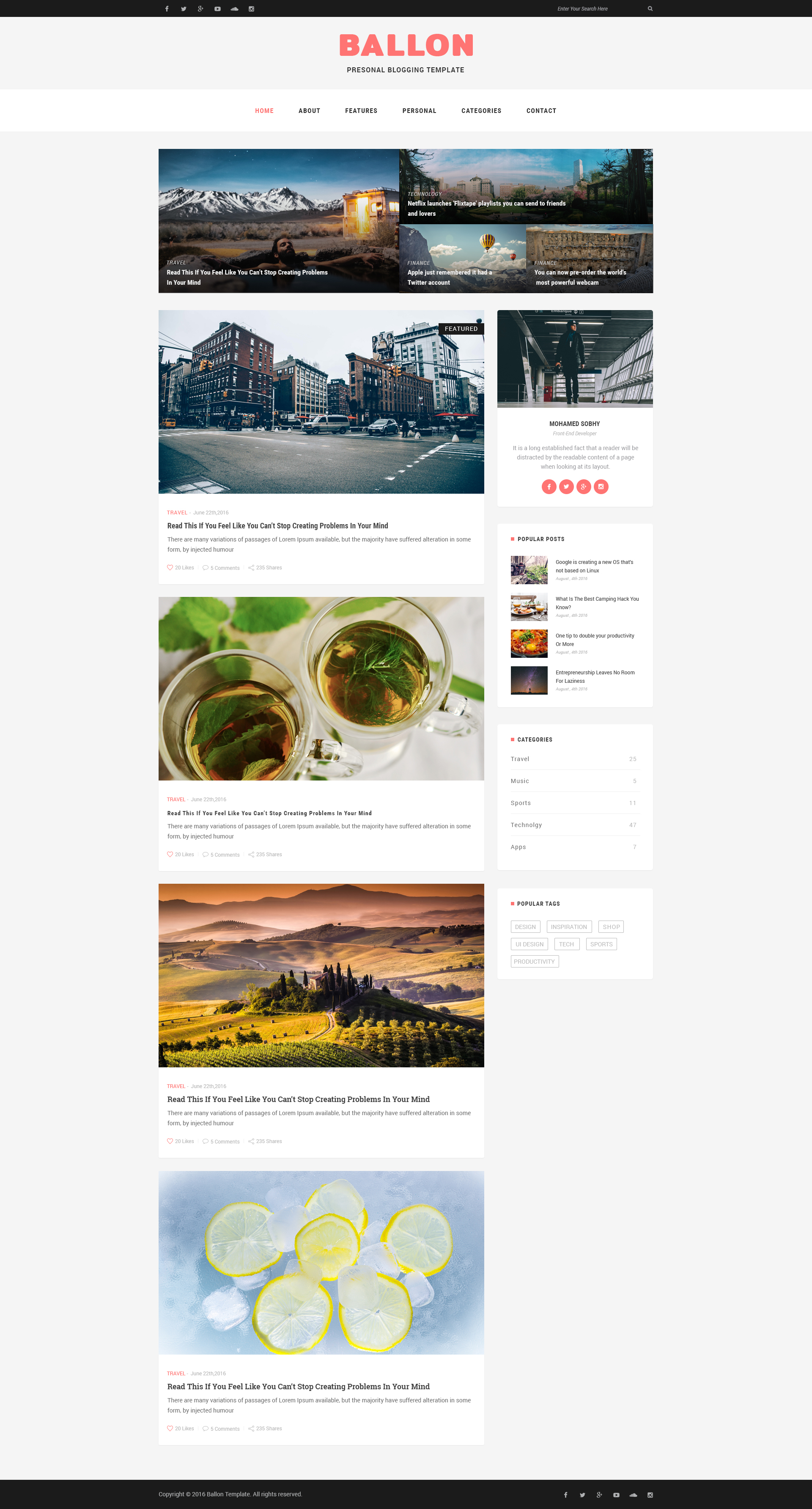 balloon personal blog psd template by nano themes themeforest