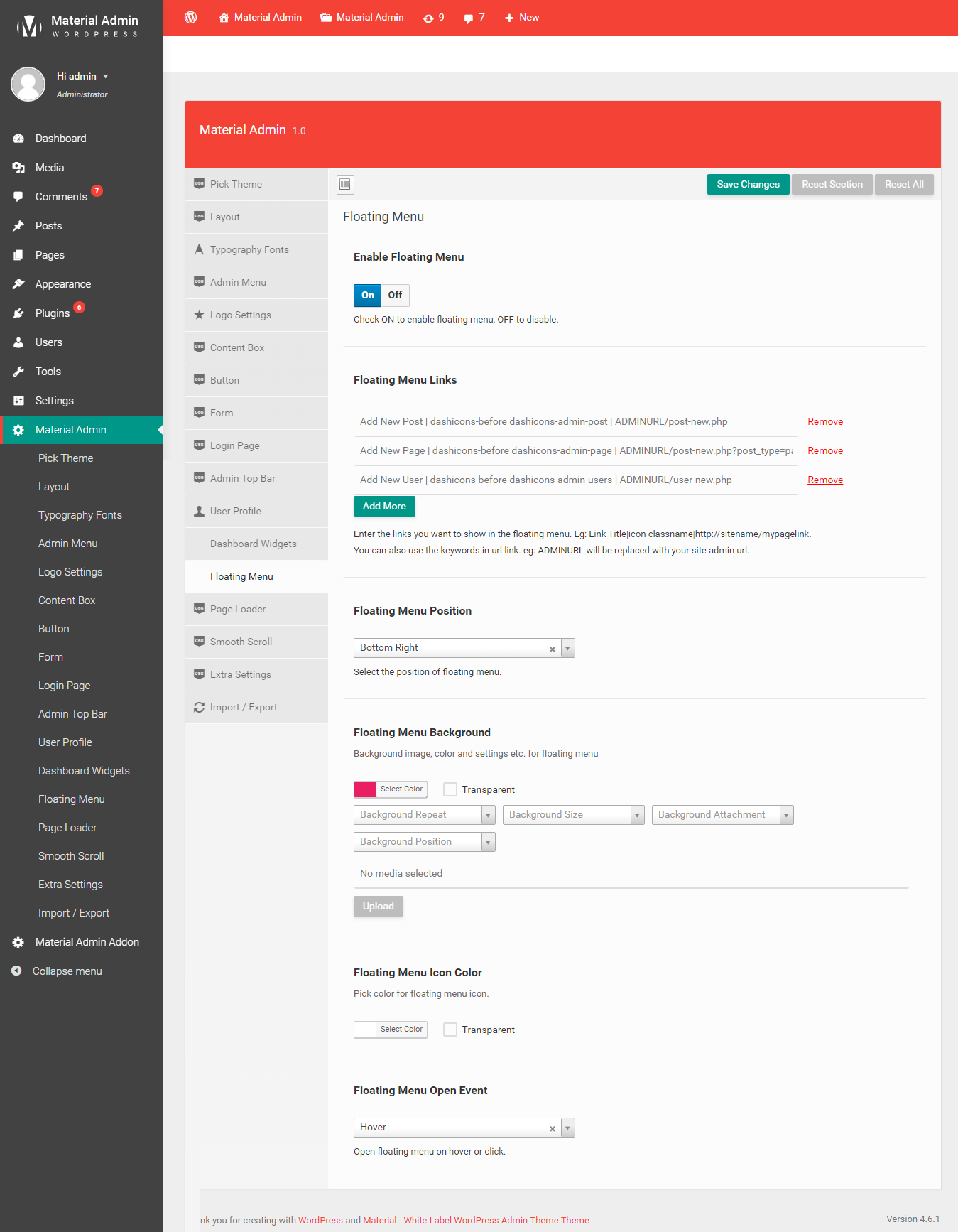 Material - White Label WordPress Admin Theme by themepassion ...