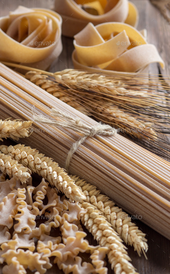 Whole wheat italian pasta with spikes - Stock Photo - Images