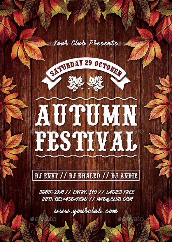 Beautiful Autumn Fall Festival Flyer   Clubs U0026 Parties Events