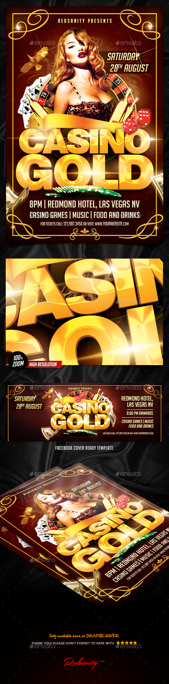 Casino Gold Flyer Plus FB Cover - Events Flyers