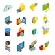 Data Protection Isometric Icons Set