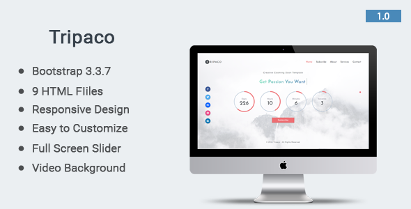 Tripaco – Responsive Coming Soon Template
