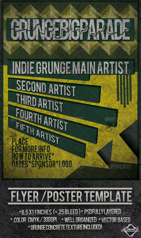 Grunge Big Parade - Poster / Flyer - Clubs & Parties Events