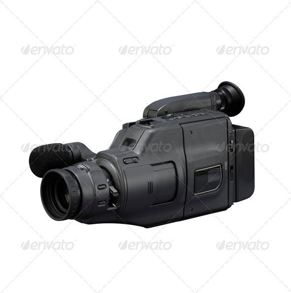 Old video camera isolated on white - Stock Photo - Images