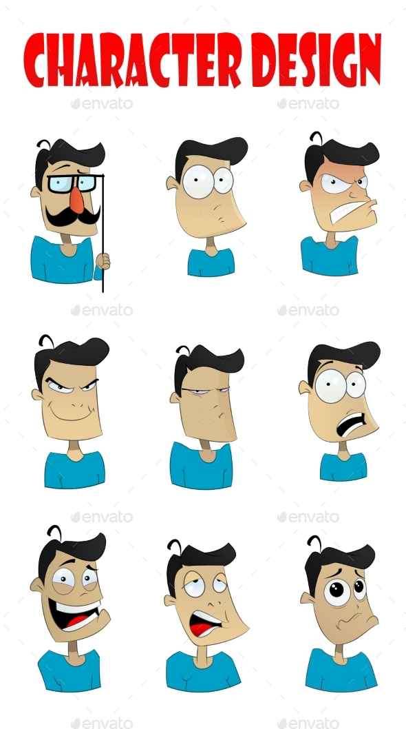 Emotions Faces Vector Characters - People Characters