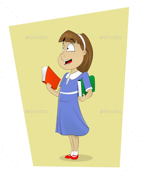 Schoolgirl with Books - People Characters