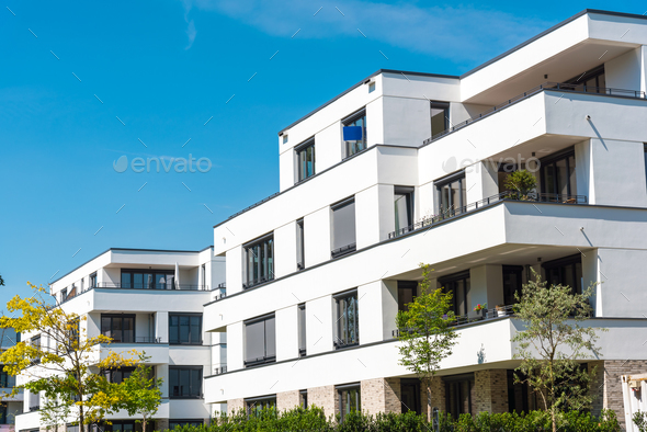 White modern townhouses in Germany - Stock Photo - Images