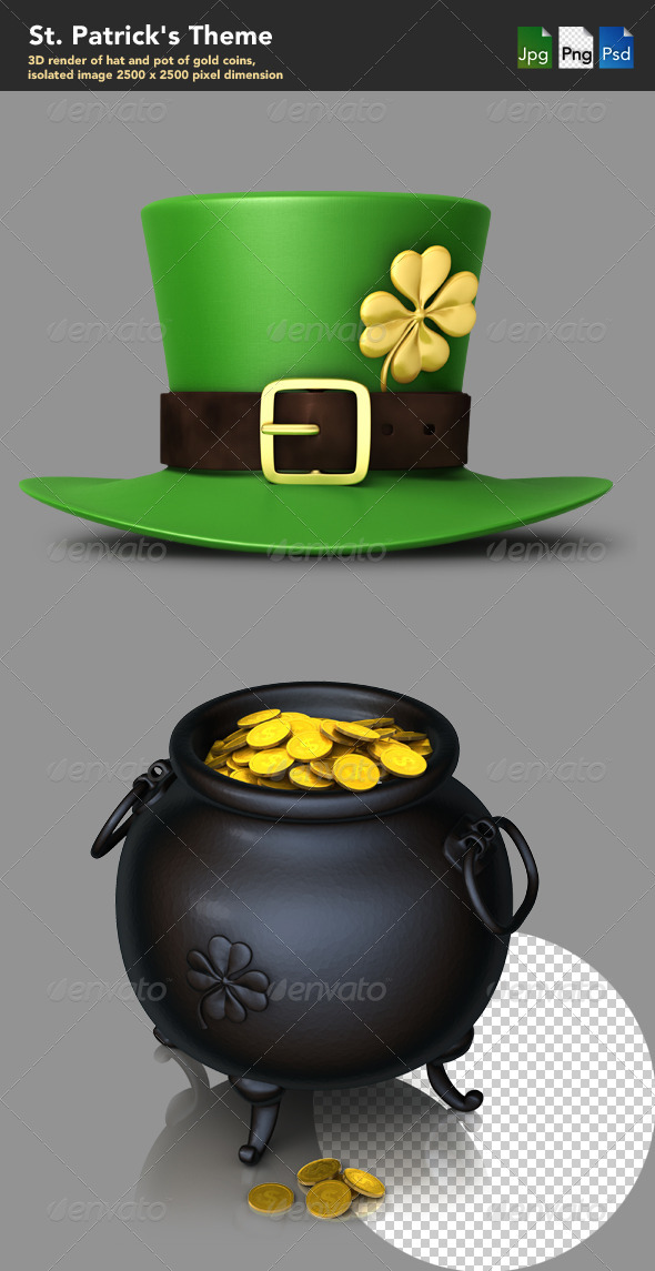 St. Patrick's themes  - Objects 3D Renders