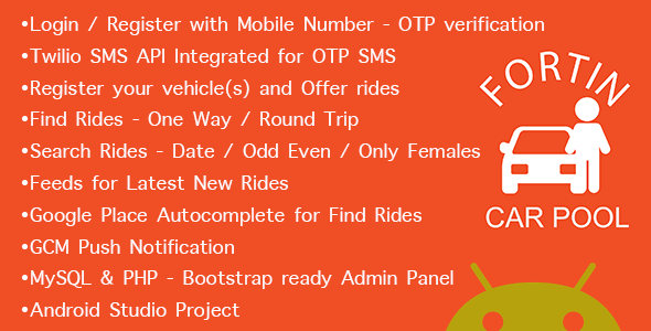 Fortin Car Pool - Ride Share App - Full Application with Admin - CodeCanyon Item for Sale