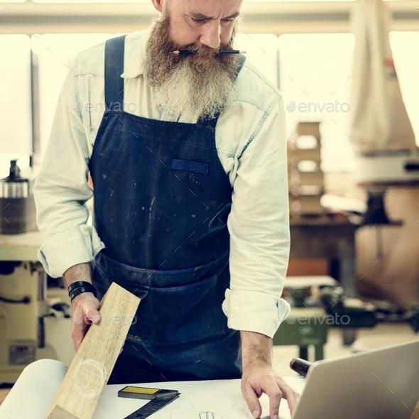 Carpenter Craftsman Handicraft Wooden Workshop Concept - Stock Photo - Images
