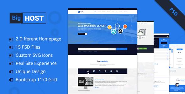BigHost - Web Hosting Domain Technology PSD Template