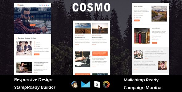 Cosmo – Multipurpose Responsive Email Template + Stampready Builder