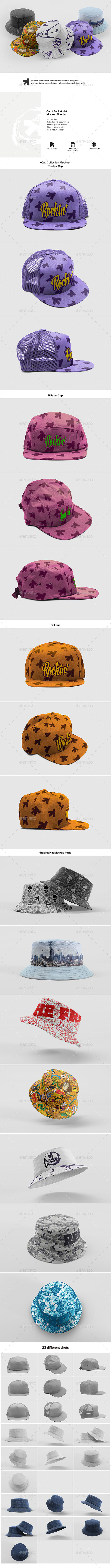 Cap Bucket Hat Mockup Bundle - Miscellaneous Apparel