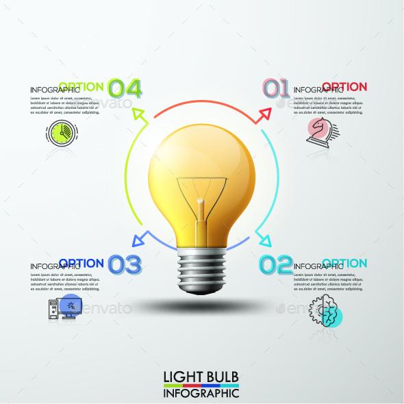 3d Modern Light Bulb Infographics
