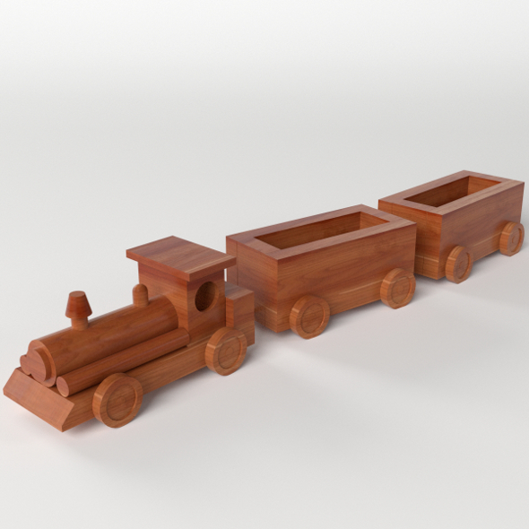 Wooden Train Toy - 3DOcean Item for Sale
