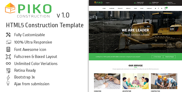 HTML5 Construction & Business Template – Pikocon