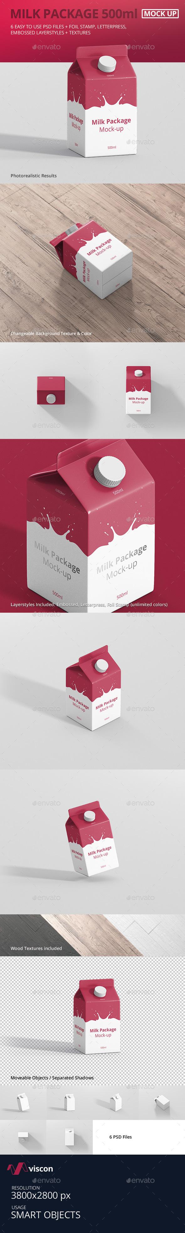 Juice / Milk Mockup - 500ml Carton Box - Food and Drink Packaging