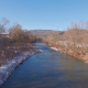 Flying Over River with Snow and Mountains - VideoHive Item for Sale