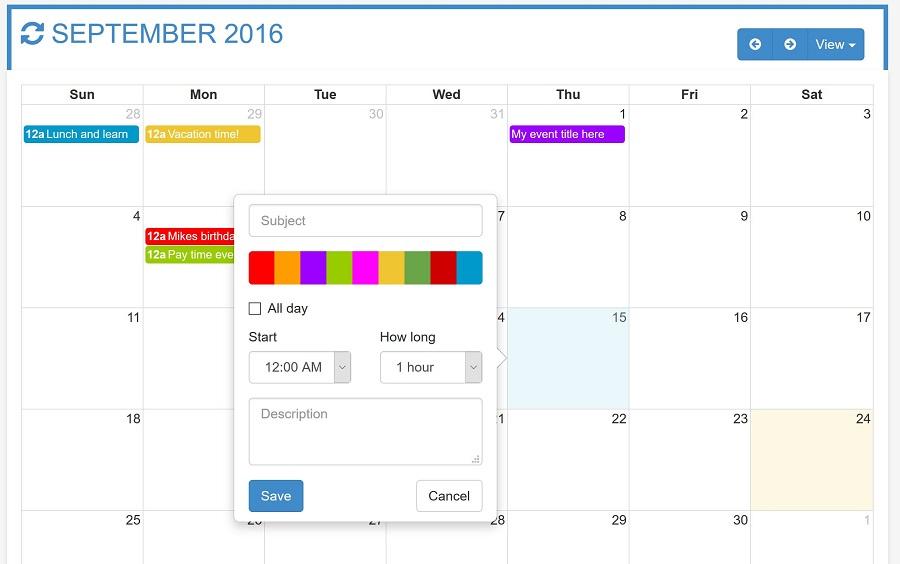 OtxFullcalendar - Responsive Full Calendar for your Needs