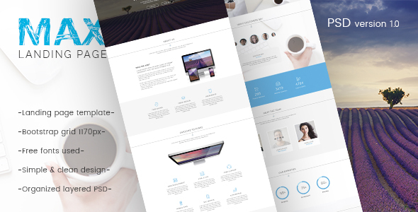 Max – Landing Page PSD Template