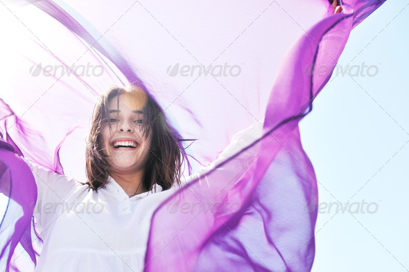 young woman relax  on beach - Stock Photo - Images