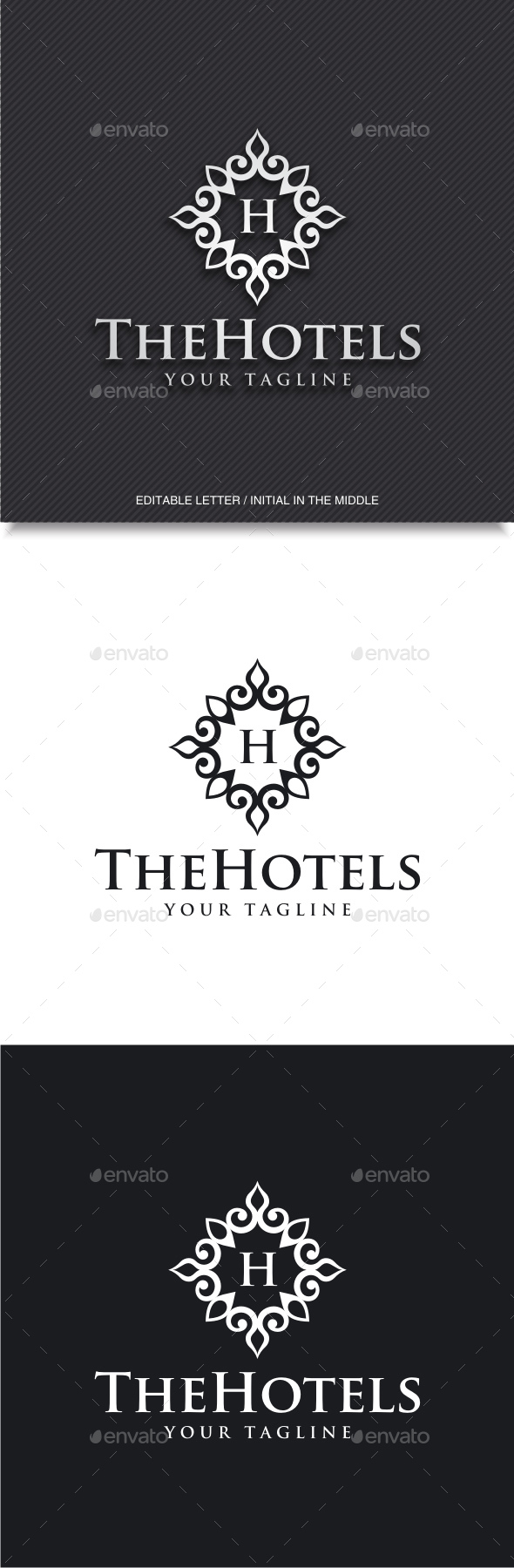 Hotels (Editable Initial / Letter H) - Crests Logo Templates