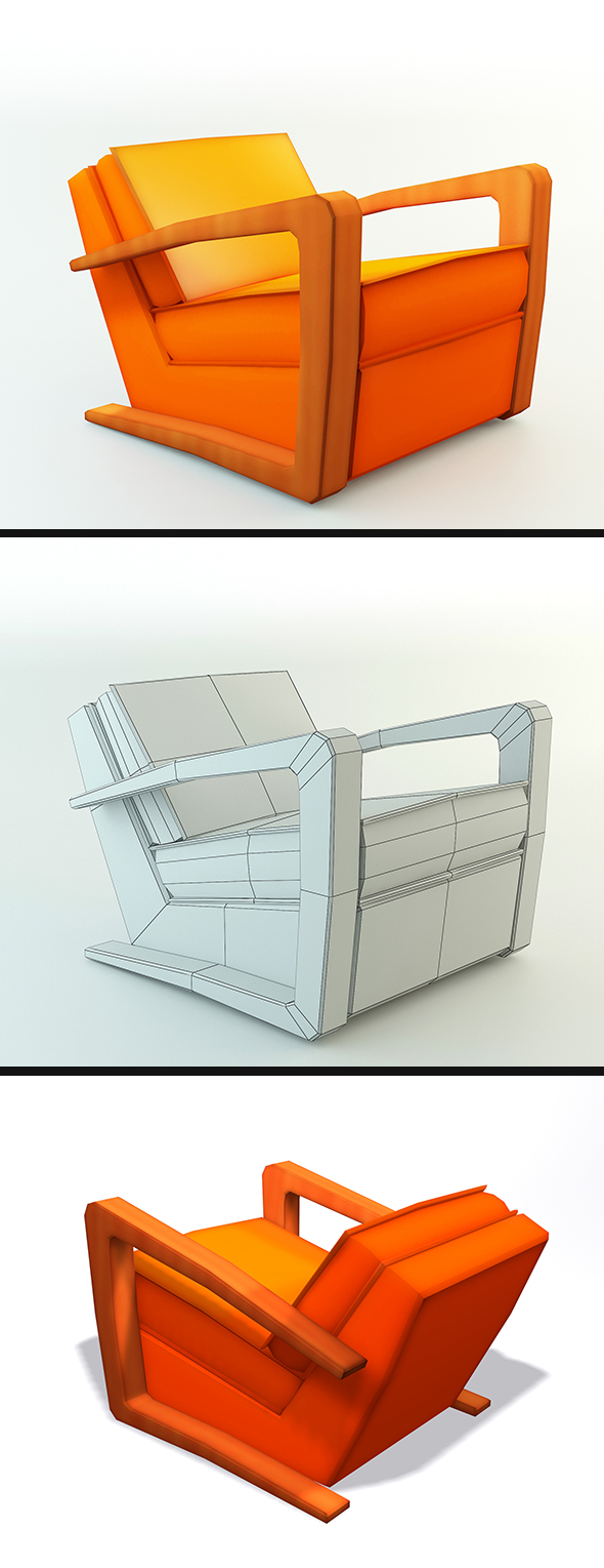Low Poly Kustom Armchair - 3DOcean Item for Sale