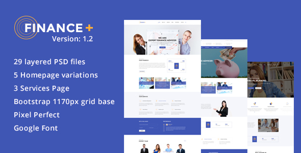 Finance + Business and Finance Corporate PSD Template - Corporate PSD Templates