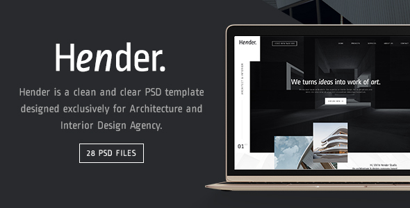 Hender – Architecture and Interior Design Agency PSD Template