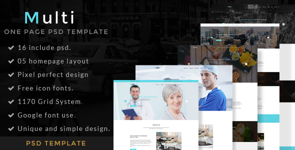 Multi – One Page Portfolio PSD Template