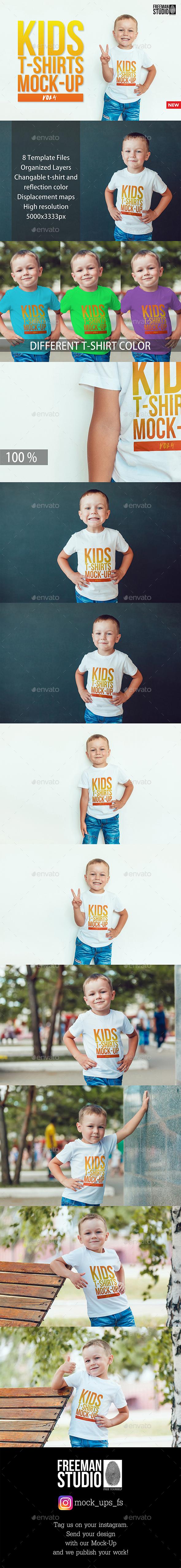 Kids T-Shirt Mock-Up - Product Mock-Ups Graphics