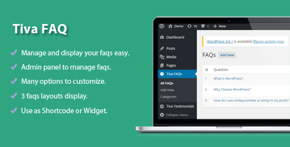 Tiva | Easy FAQs Pro Plugin For Wordpress