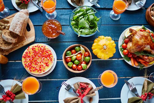 Abundant Thanksgiving table - Stock Photo - Images