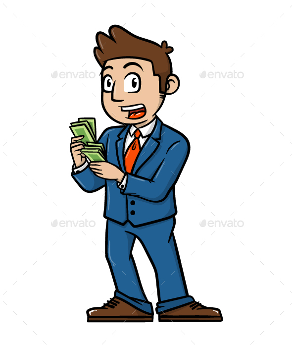 Cartoon Businessman with Money Vector Illustration - People Characters