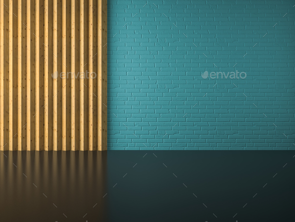 Interior of empty room 3D rendering - Stock Photo - Images
