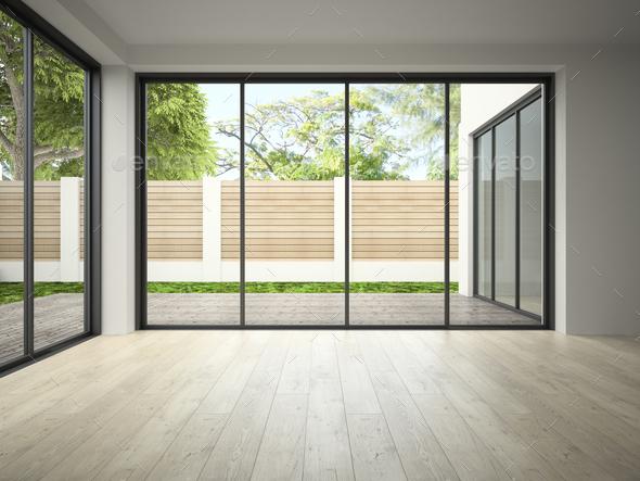 . Interior of empty room 3D rendering