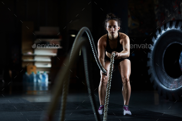 Battle rope workout - Stock Photo - Images