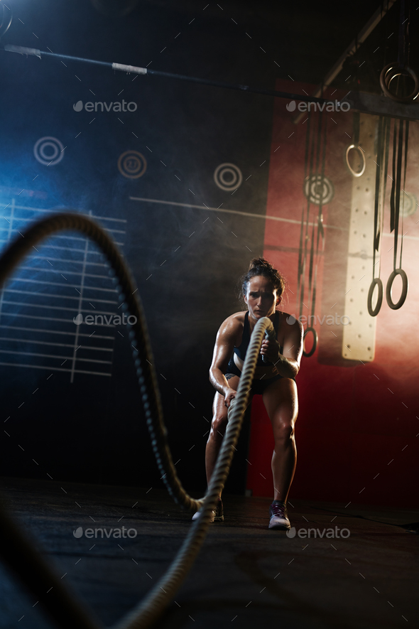 Cross training with ropes - Stock Photo - Images