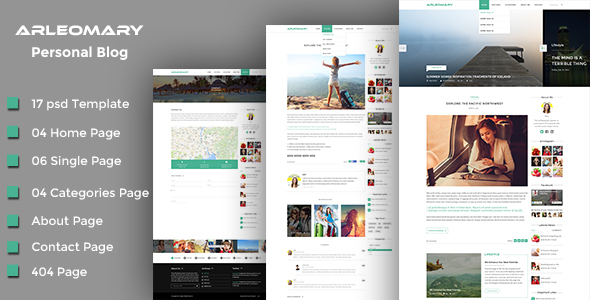Arleomary – Travel/Lifestyle Blog – PSD Template