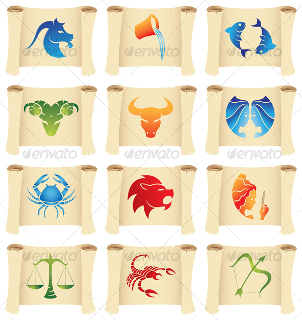 zodiac signs on scrolls - Miscellaneous Seasons/Holidays