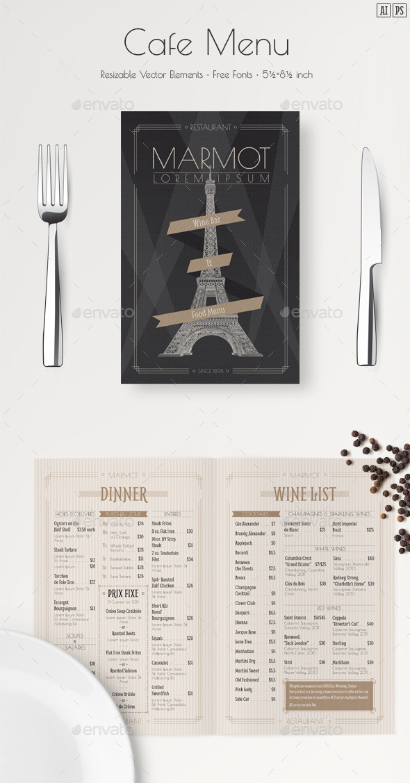 French Menu Template - Food Menus Print Templates